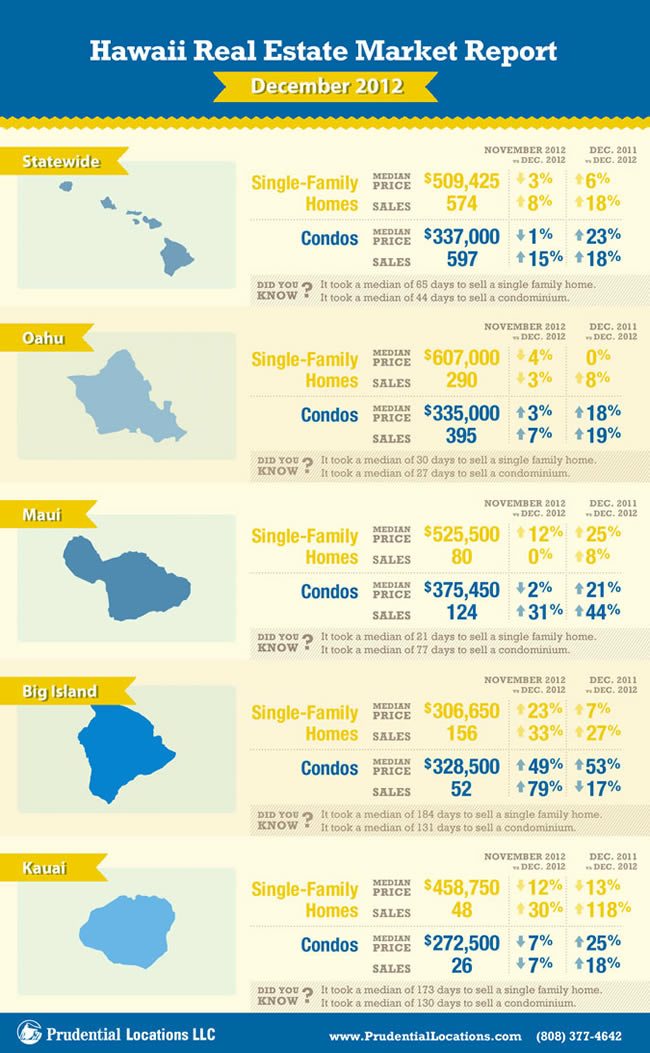 State wide Hawaii real estate report for January 2013